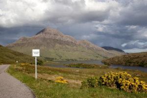 Eine Straße in den schottischen Highlands, gesäumt mit Ginster
