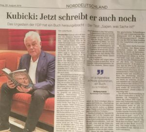 Zeitungsartikel über Kubicki und das Schreiben