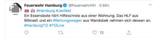 Tweet der Feuerwehr Hamburg