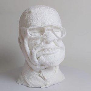 Ein Handtuchkopf, der Colin Powell darstellt