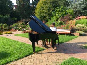 Überraschung im Schulgarten: Ein Pianist gibt ein Konzert