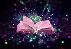 Buch, von Flimmerpunkten umgeben