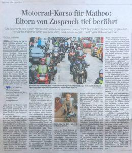 Zeitungsartikel über willige Motorradfahrer