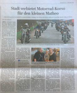 Artikel über Motorrad-Korso für den kleinen Matheo